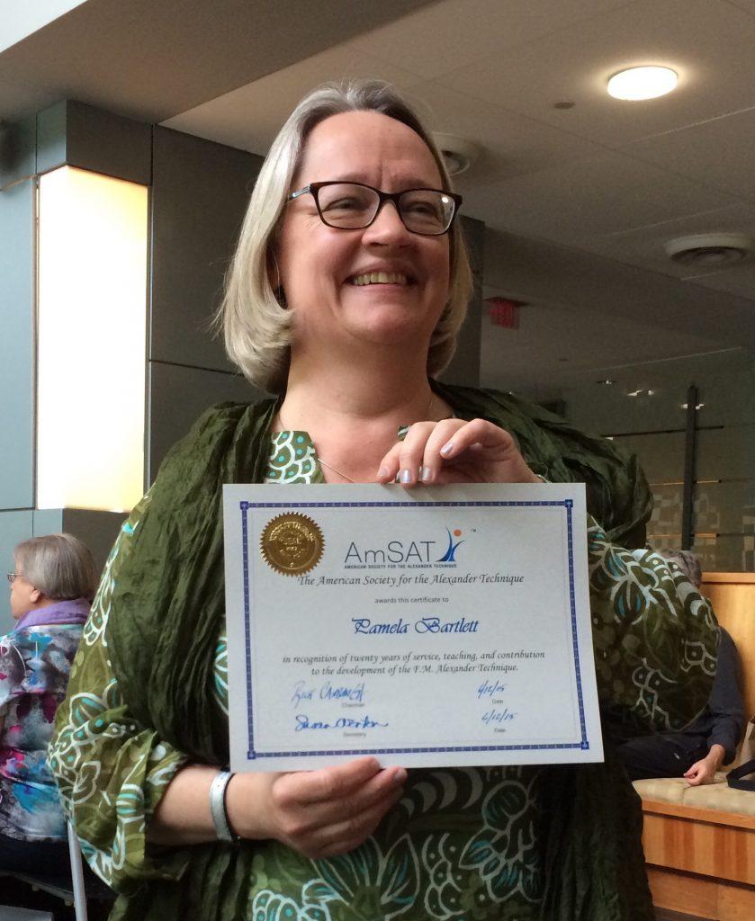Pamela Bartlett receiving 20-year Alexander Technique teaching certificate