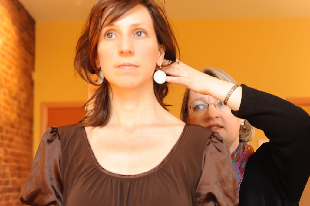 Pam working with Alexander Technique student
