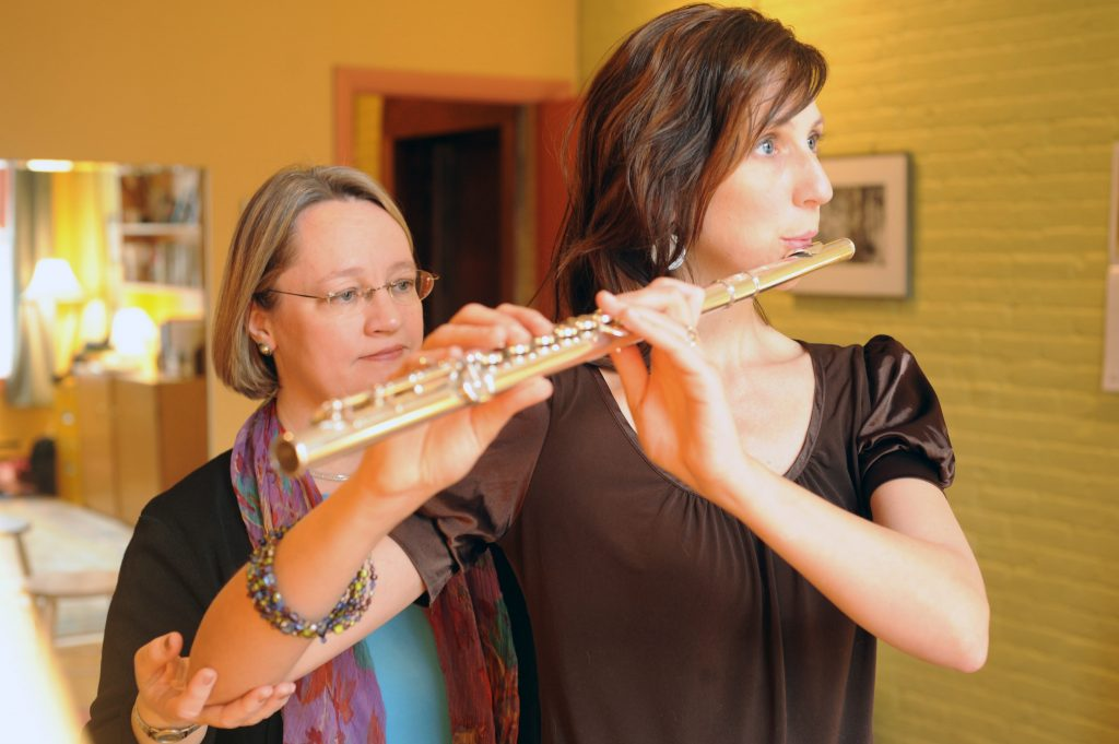 Pamela Bartlett Alexander technique working with flutist with the Alexander Technique