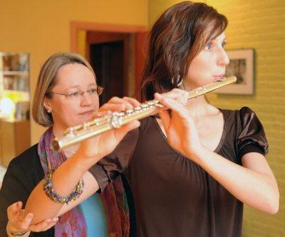 Pamela Bartlett Alexander technique working with flutist with the Alexander Technique