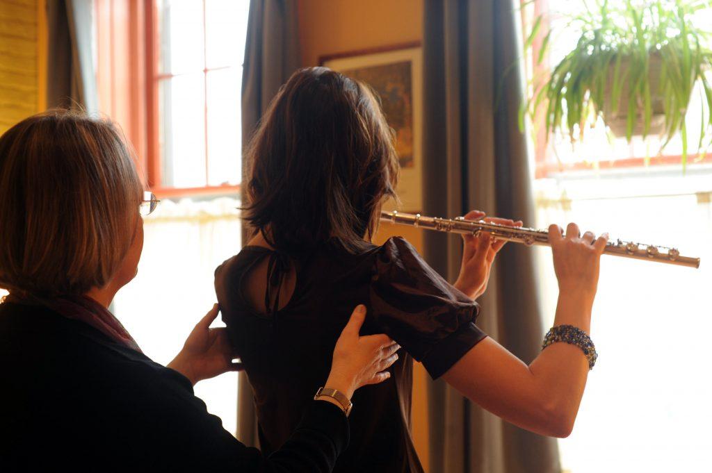 Pamela Bartlett Alexander Technique working with a flutist
